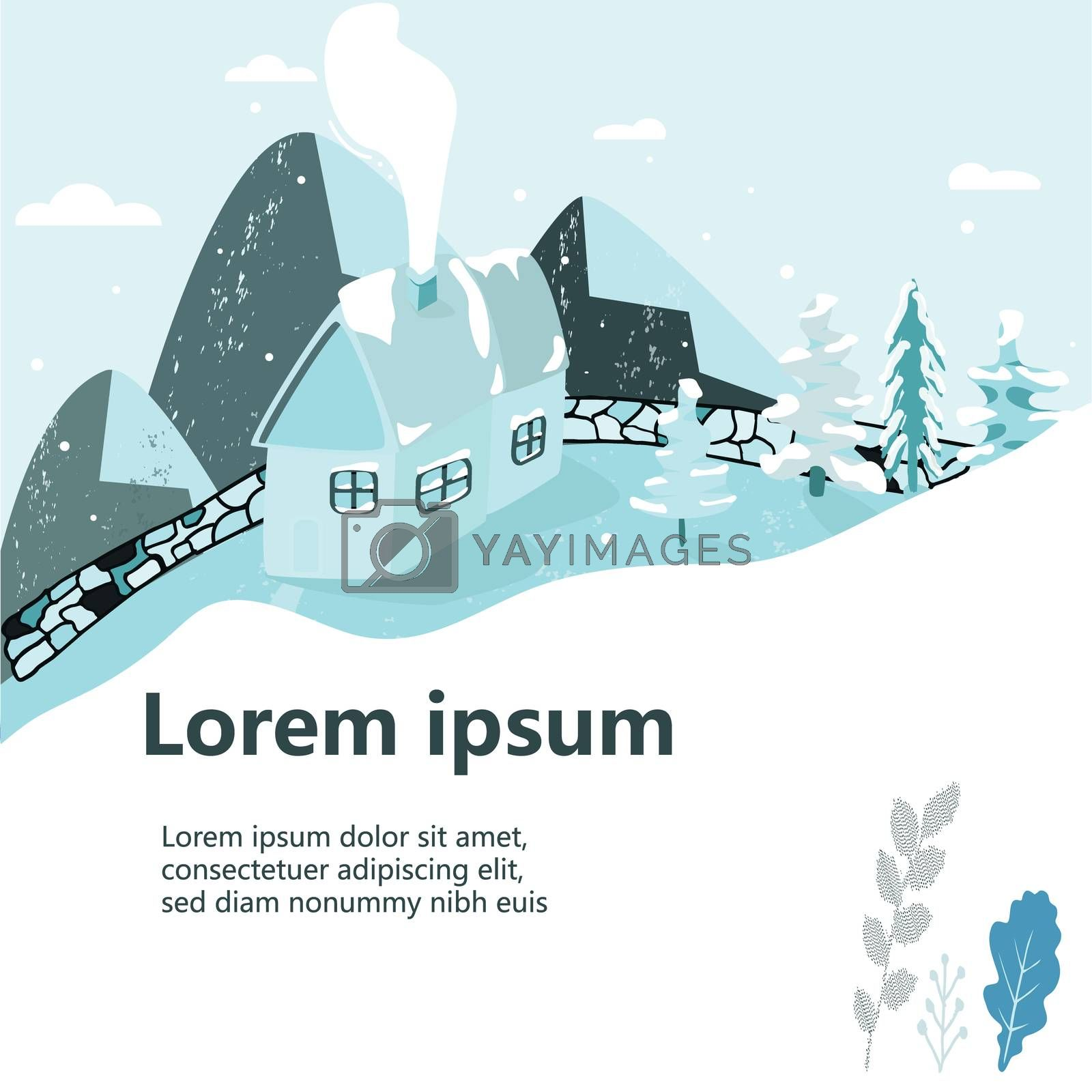 Winter House scene as a template vector illustration.