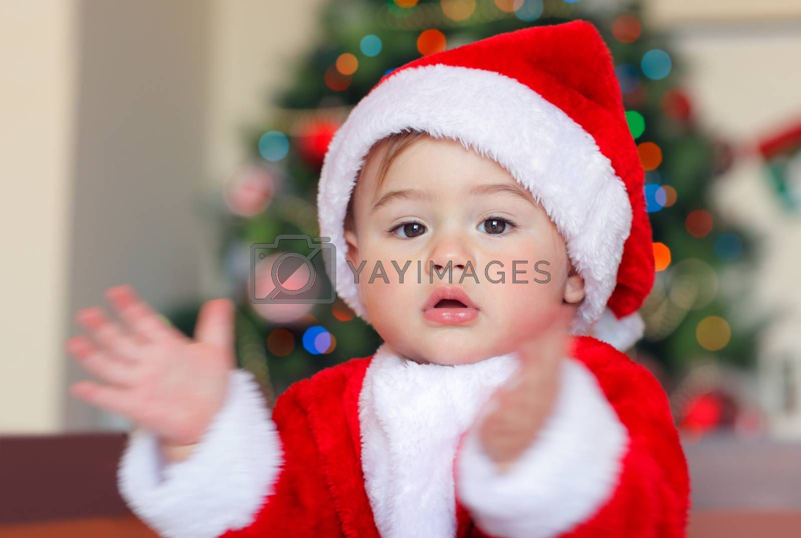 Portrait of a cute happy little boy having fun at home in Christmas eve, adorable child wearing Santa costume clapping near Christmas tree