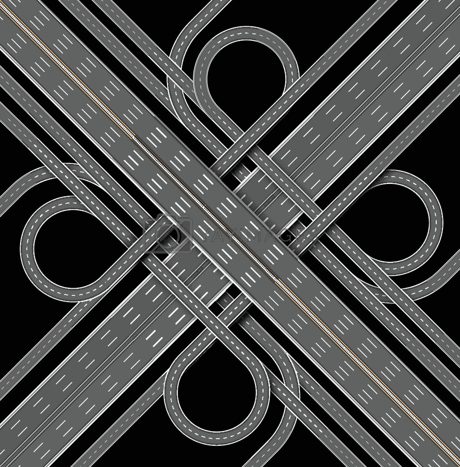 Car highway. The denouement of the many roadss. Top view. Vector illustration on black