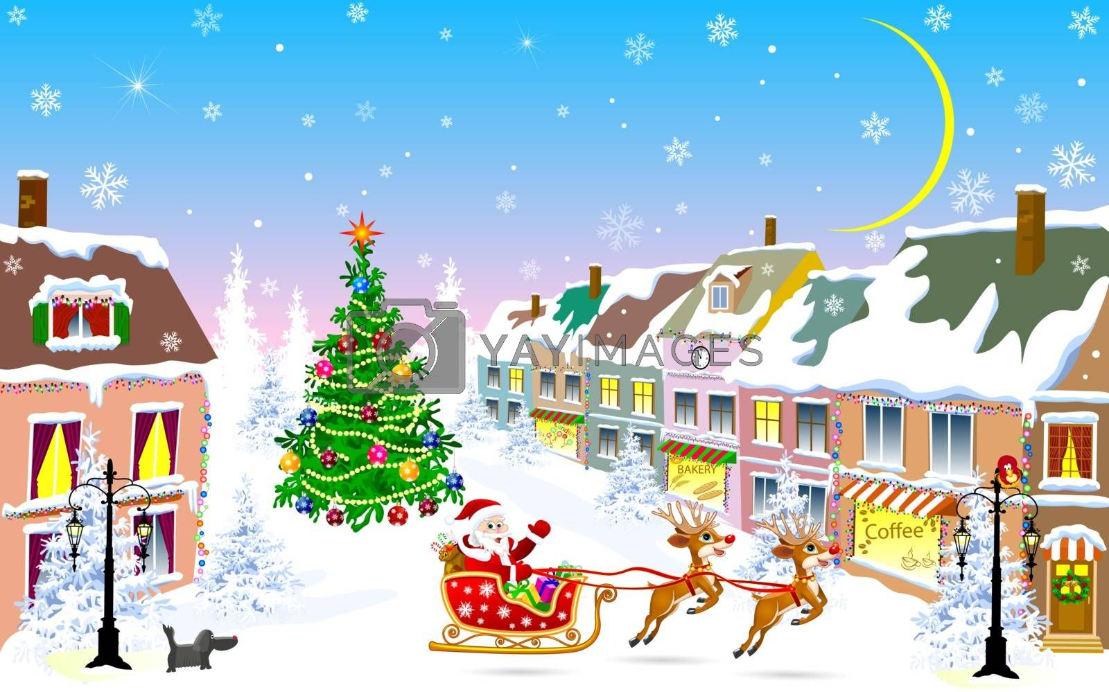 City street in the winter Christmas night. Santa Claus on a sleigh with reindeer. Christmas tree. Houses covered with snow. Winter night on Christmas Eve.