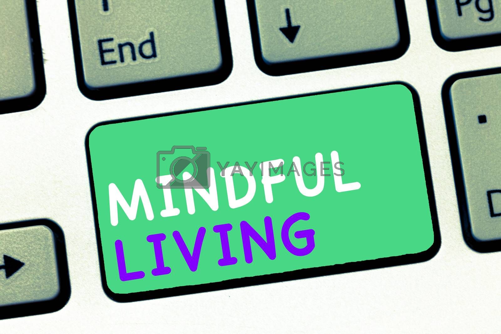 Writing note showing Mindful Living. Business photo showcasing Fully aware and engaged on something Conscious and Sensible.