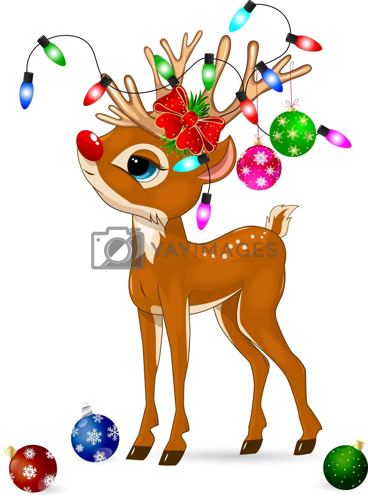 Little cartoon deer with Christmas decorations on a white background. Deer baby with a red nose.