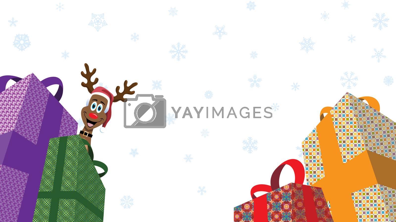 Christmas Presents and reindeer peeking while white snowflakes flakes