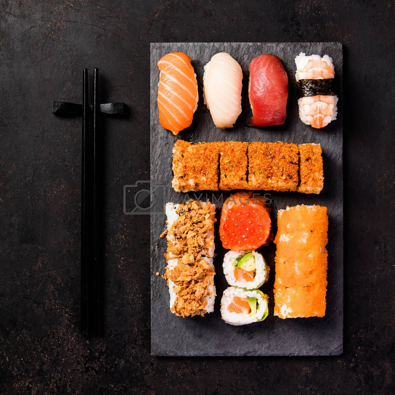 Asian food background, top view, flat lay, square composition