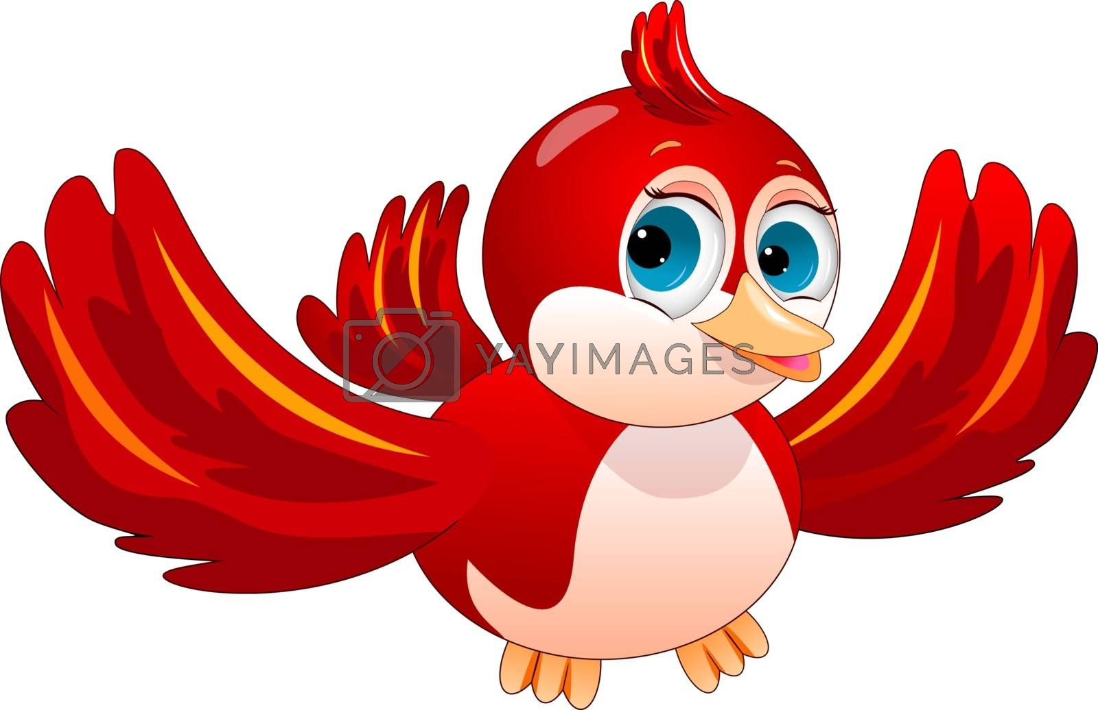 Cartoon red bird on a white background. Red bird character.