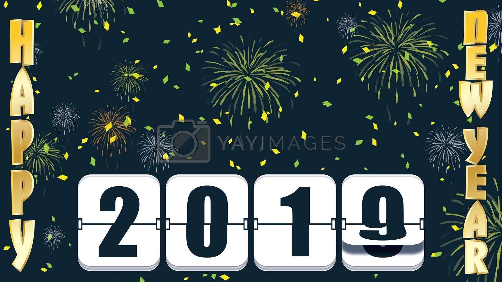 2019 New years Countdown clock changing numeral with festive background andtype