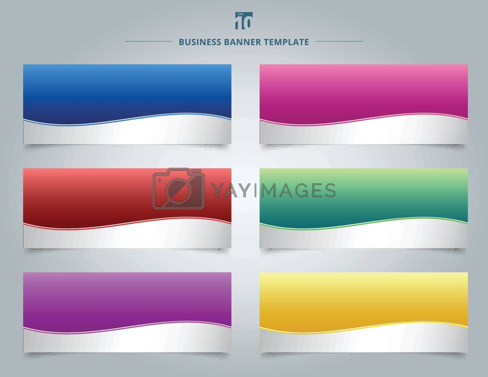 Set of templates business banner web design abstract stripe wave lines graphic blue, red, yellow, purple, pink, green gradient color background. Vector illustration