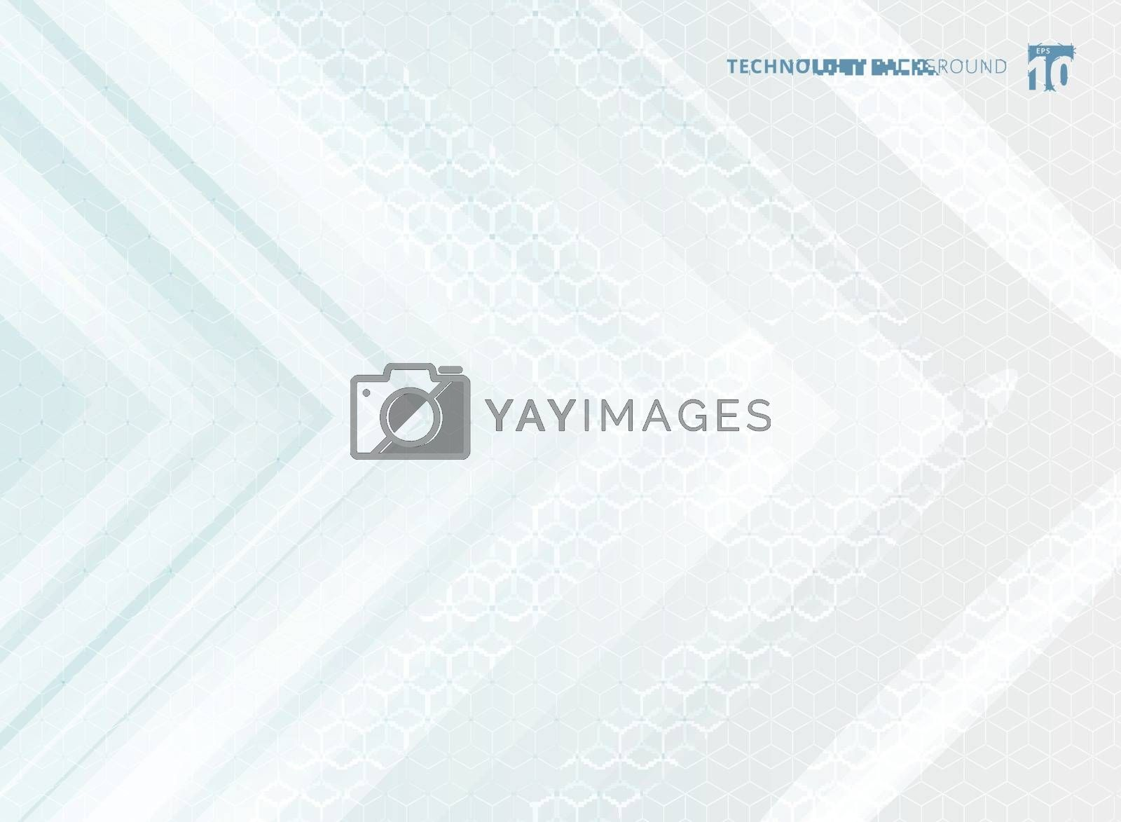 Abstract geometric white arrows overlapping background and hexagons pattern texture technology futuristic concept. Vector illustration