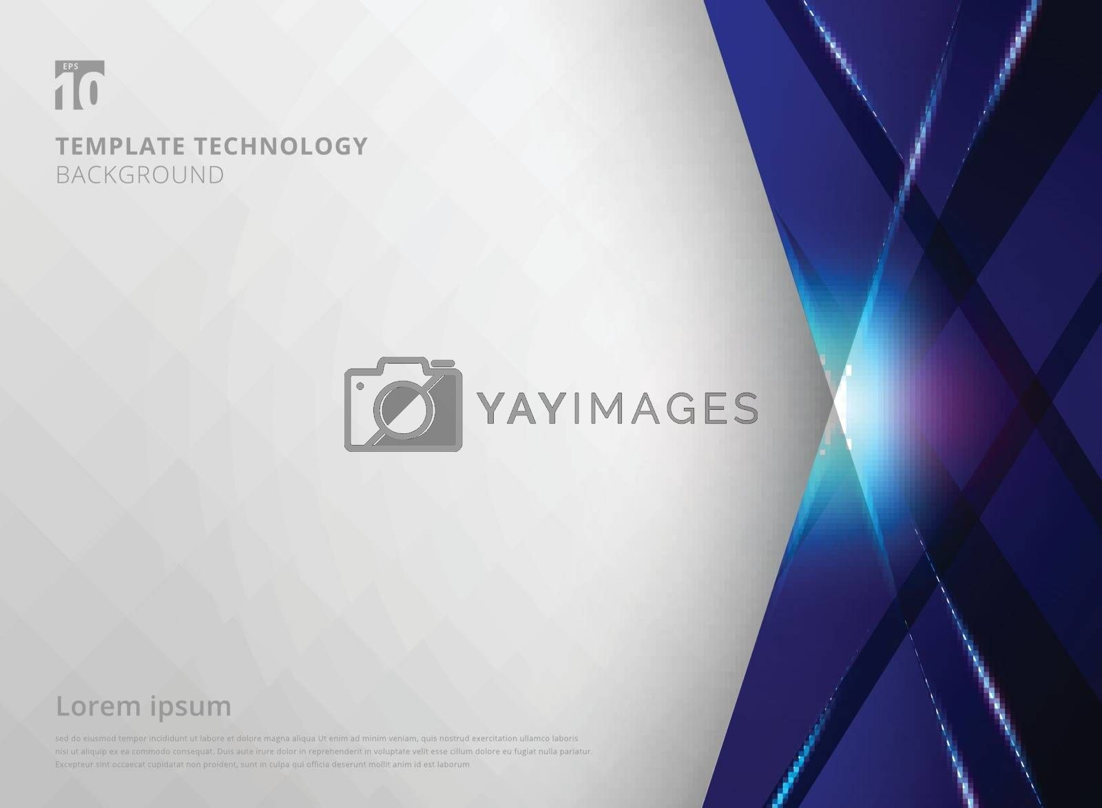 Abstract technology geometric blue color laser shiny and lighting motion background. Template for brochure, print, ad, magazine, poster, website, magazine, leaflet, annual report. Vector corporate design