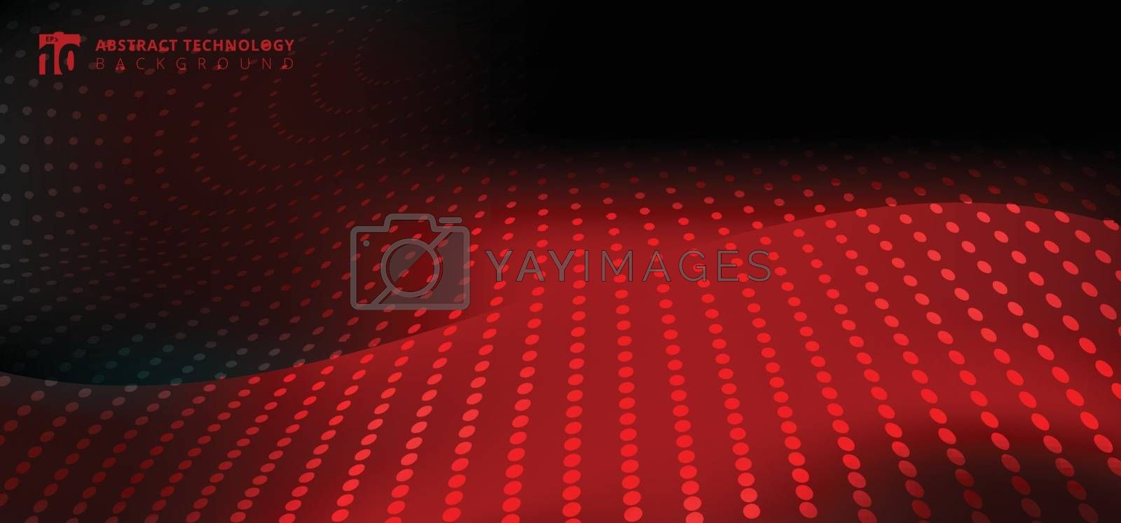 Abstract furturistic technology radial dots pattern on smooth fantasy motion blurred wave red light trail on black background. Vector illustration