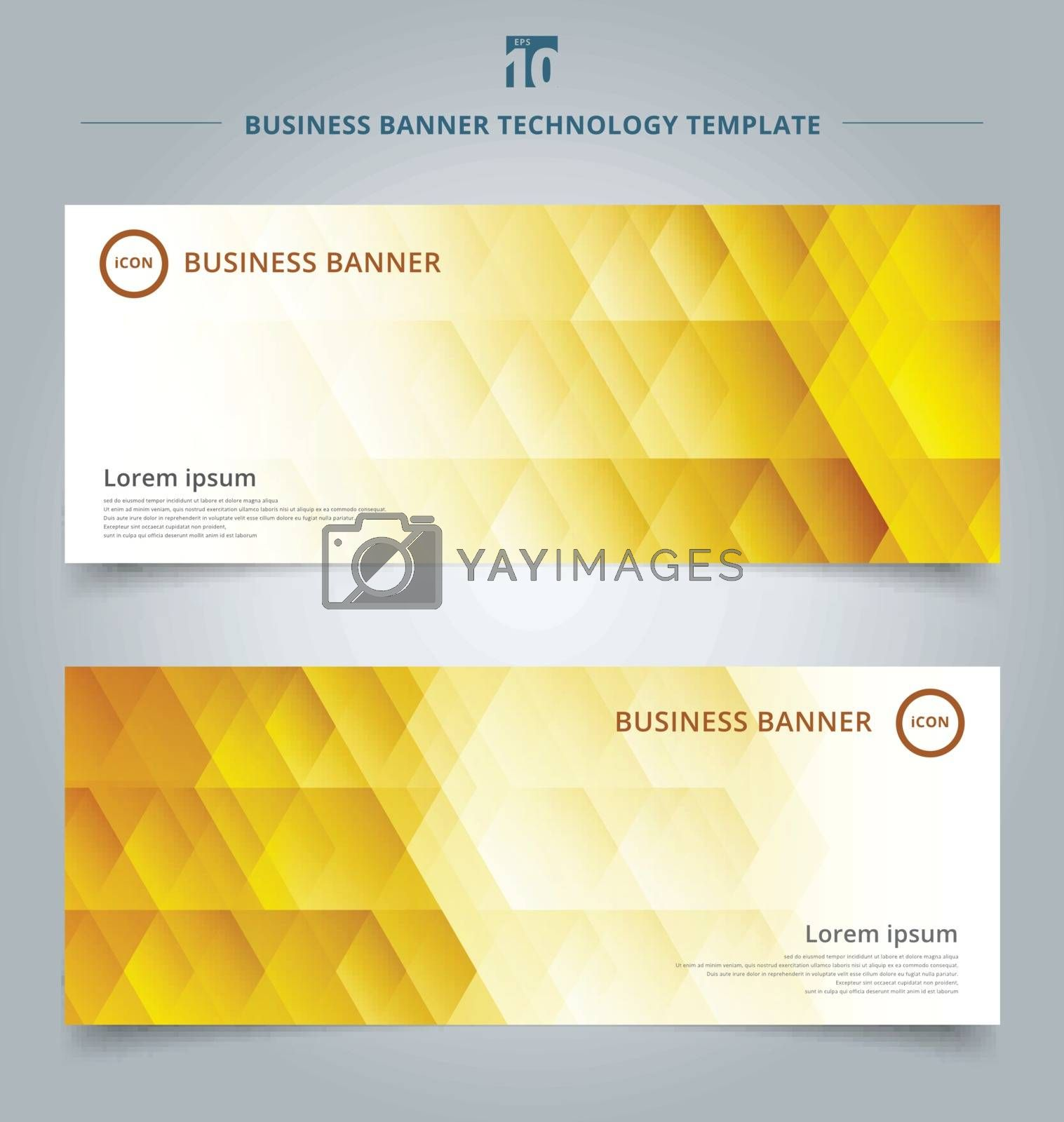 Set of template banner web geometric hexagon pattern gold or yellow background technology concept. Vector corporate design