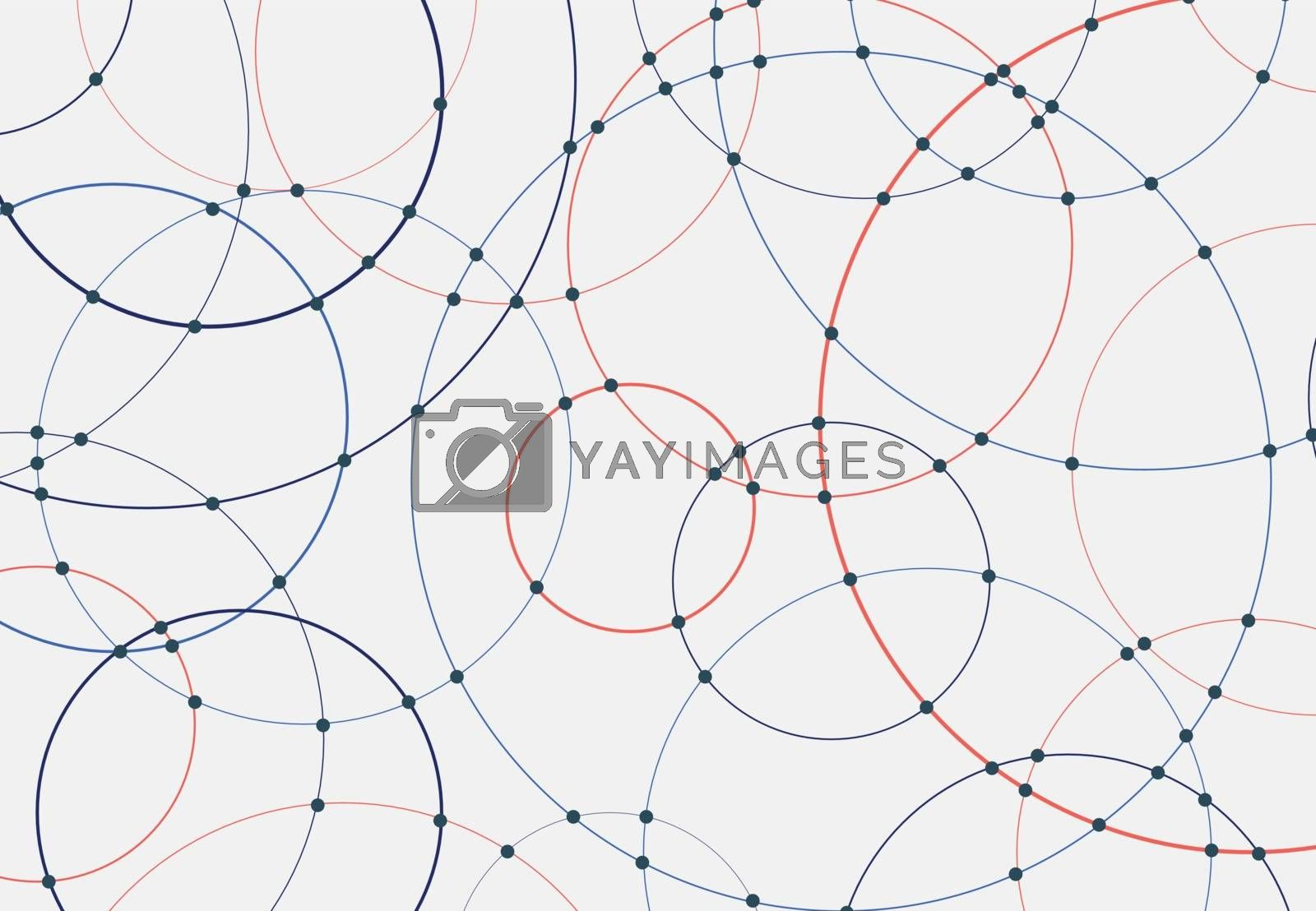 Abstract blue and red circles lines round overlay white background and connecting dots technology concept for your design. Vector Illustration