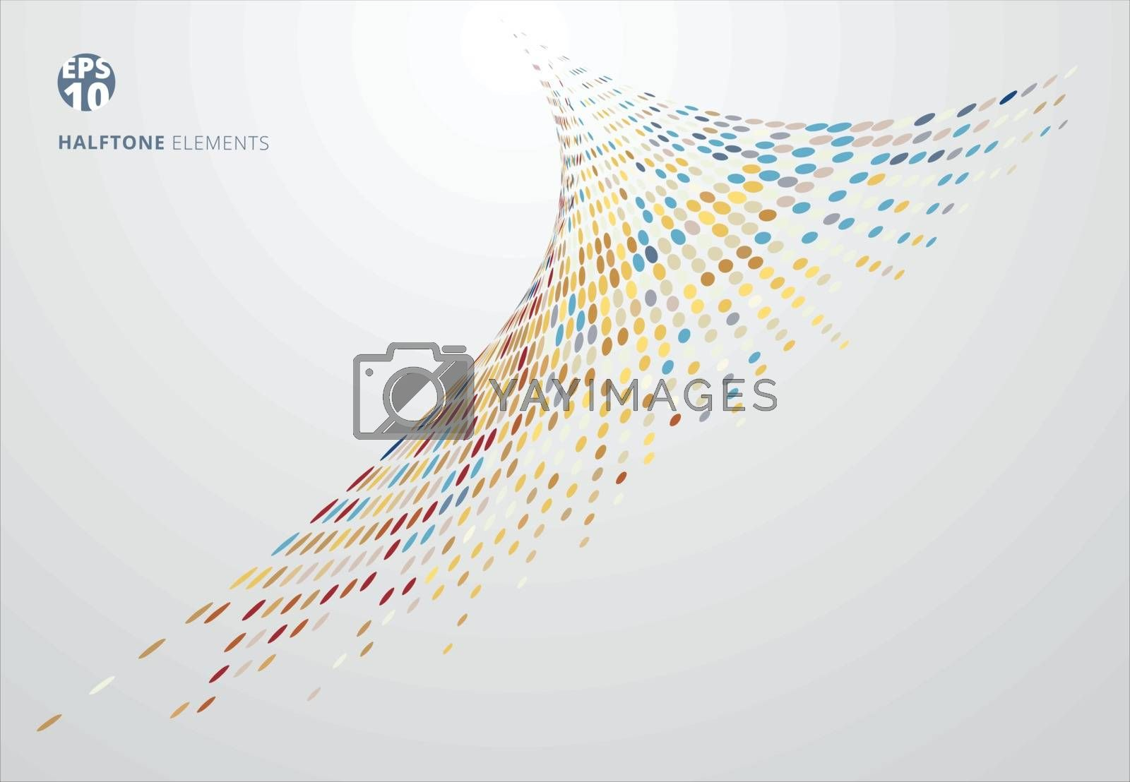 Abstract spiral storm halftone colorful on white background technology concept. Dots pattern elements perspective. Vector illustration
