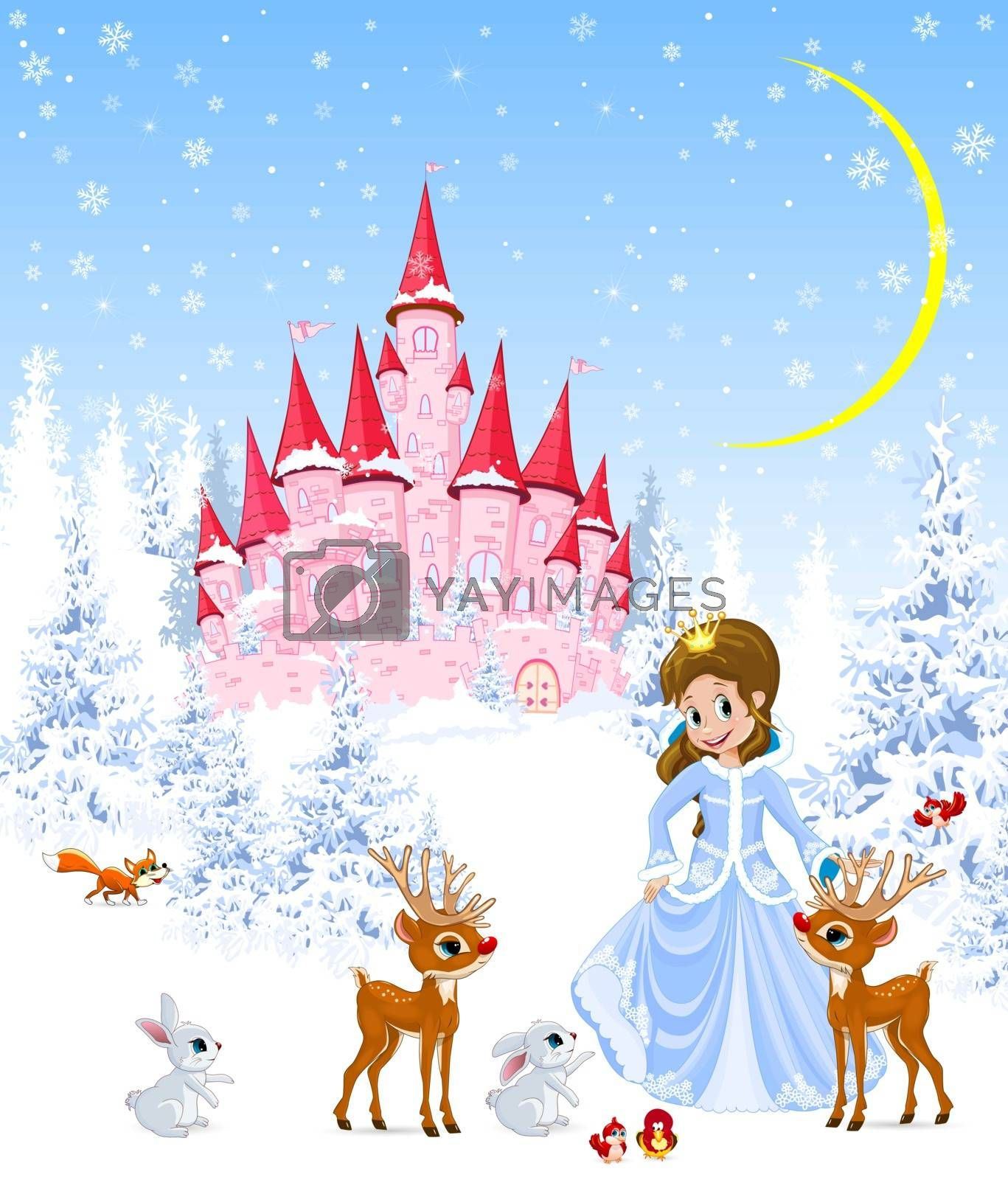 Princess on the background of a pink castle and winter forest. The princess is standing next to deer, bunnies and birds. Winter landscape.