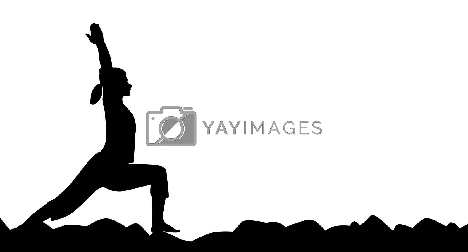 Yoga pose in silhouette over a white background