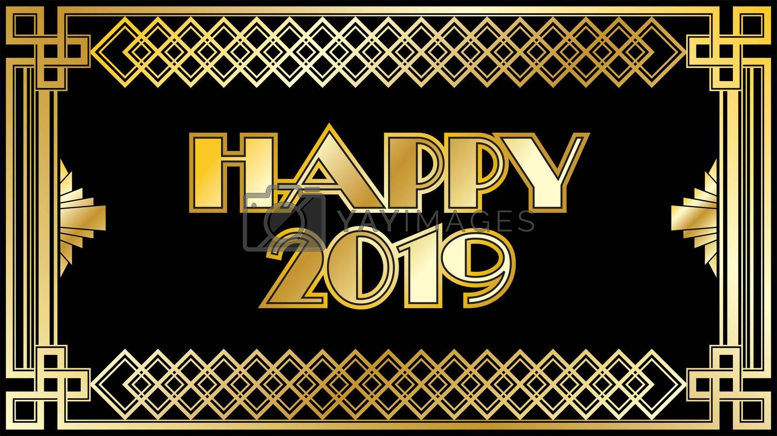 2019 New Years Countdown clock with black and gold background pattern