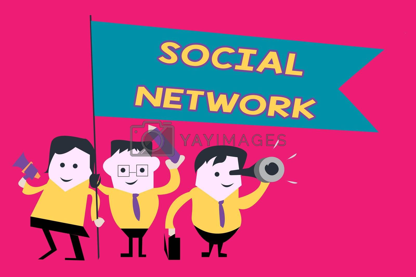 Word writing text Social Network. Business concept for Interactions Sharing Information Interpersonal relationship.