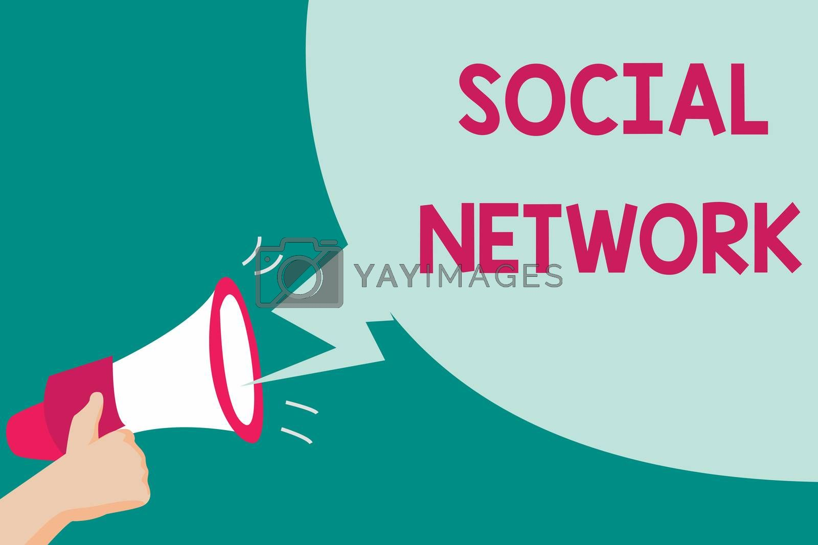 Conceptual hand writing showing Social Network. Business photo text Interactions Sharing Information Interpersonal relationship.