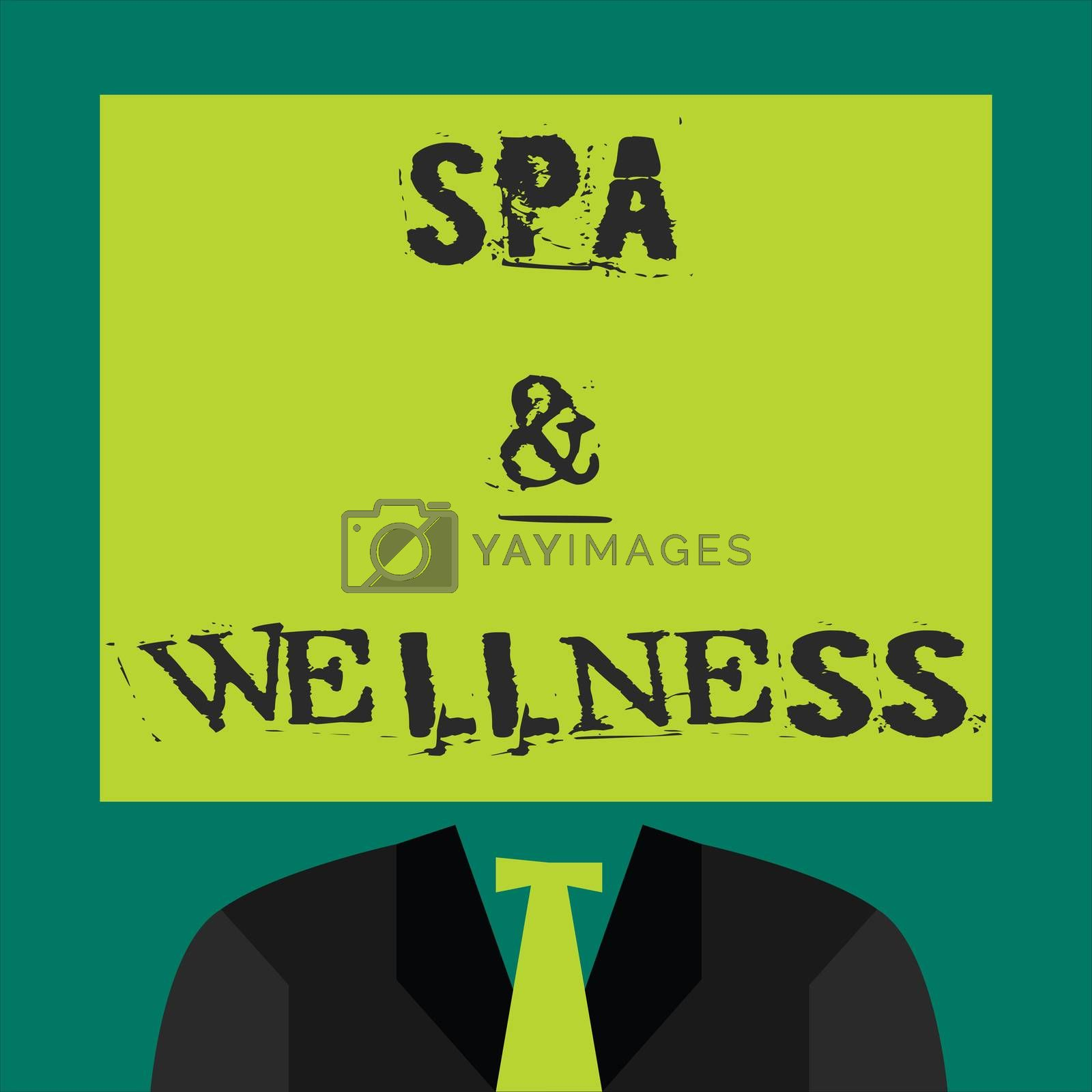Text sign showing Spa and Wellness. Conceptual photo Place where people go to improve their health Relaxation by Artur Szczybylo