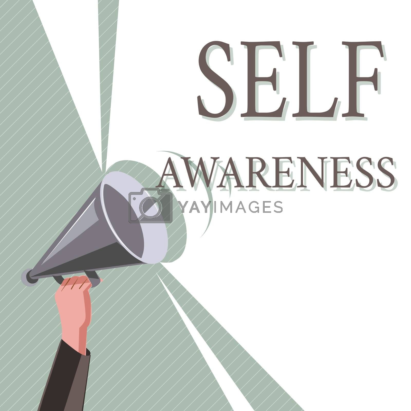 Writing note showing Self Awareness. Business photo showcasing Consciousness of a person towards a situation or happenings.