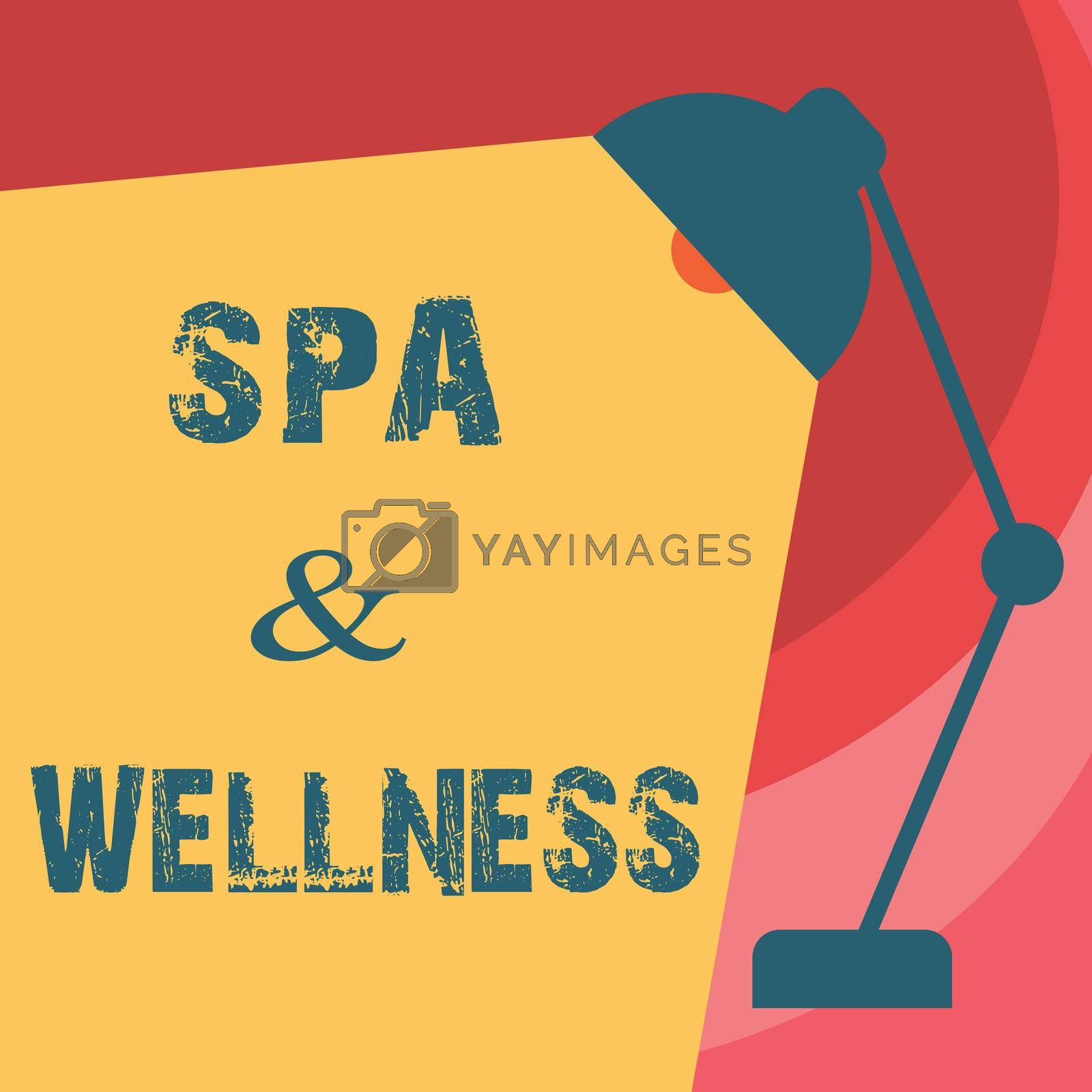 Handwriting text writing Spa and Wellness. Concept meaning Place where people go to improve their health Relaxation by Artur Szczybylo