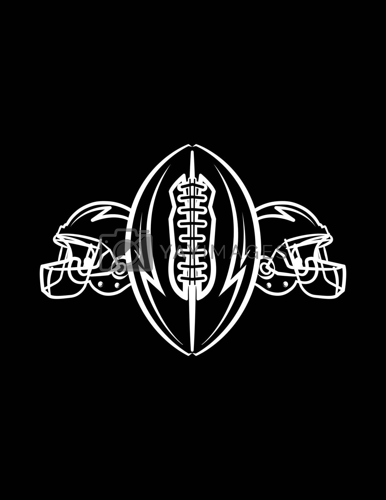 A black and white American Football ball and helmets icon illustration background. Vector EPS 10 available.