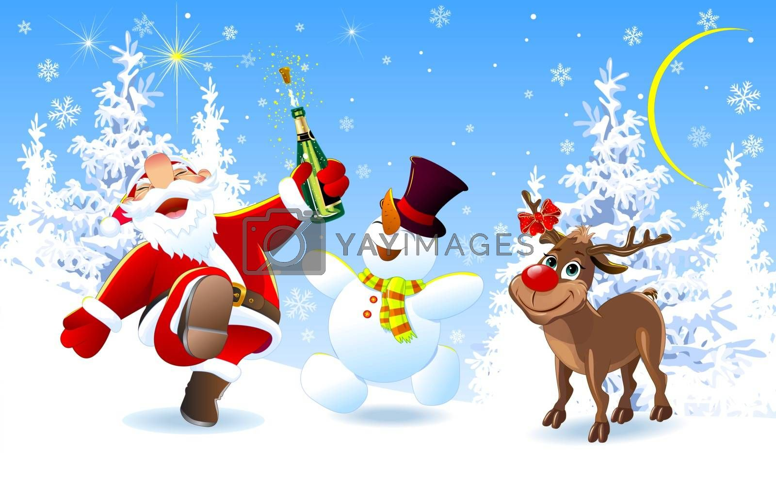 Merry Santa, deer and snowman by liolle
