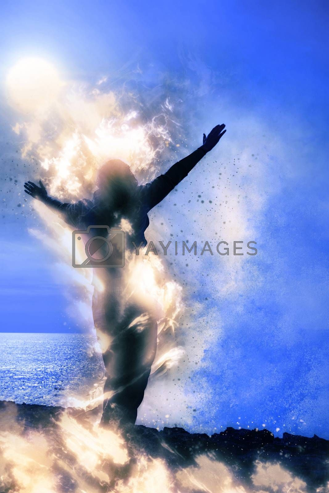 a lone woman raising her arms spiritually on fire facing a powerful wave on the cliffs edge
