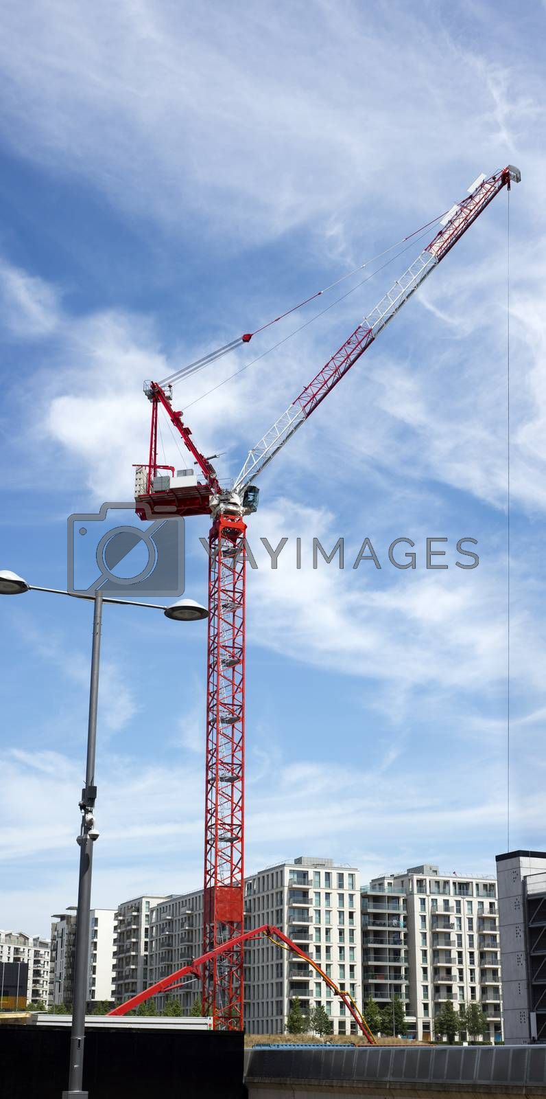 tall red crane in stratford east london
