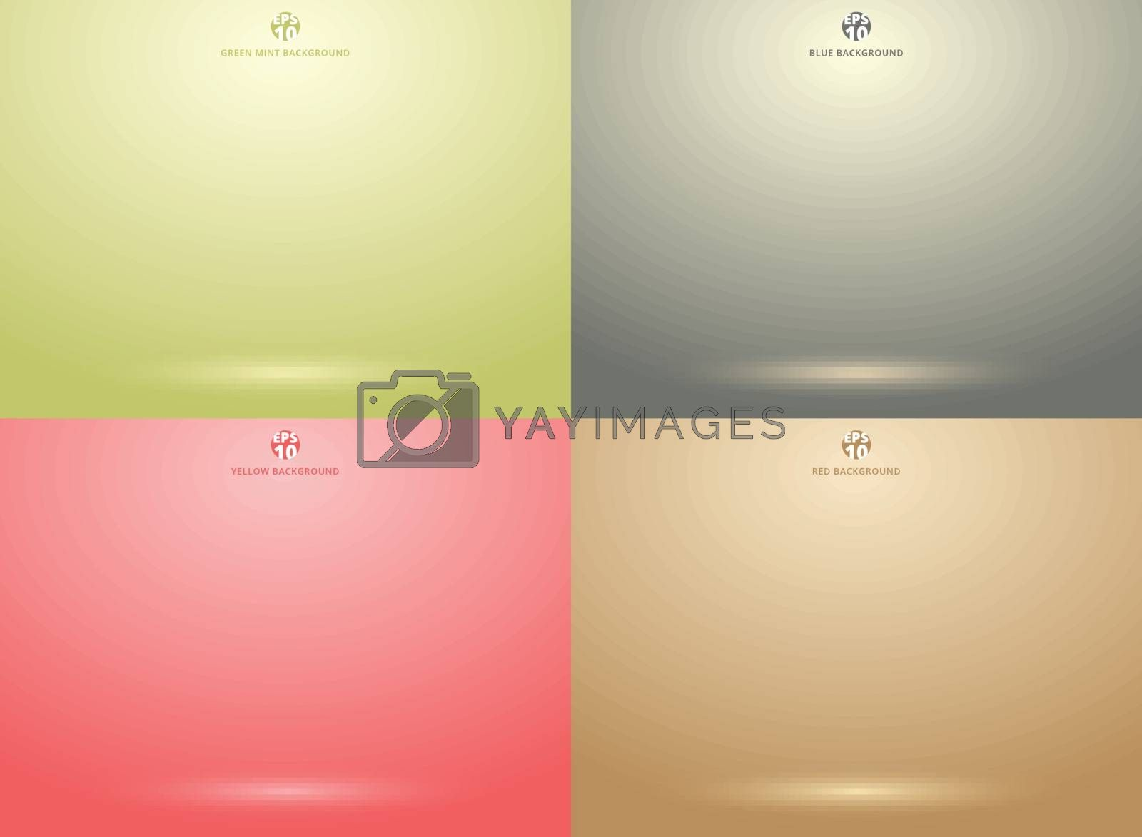 Set of studio room green, red, gray, brown background with lighting well use as Business backdrop, Template mock up for display of product, Vector illustration