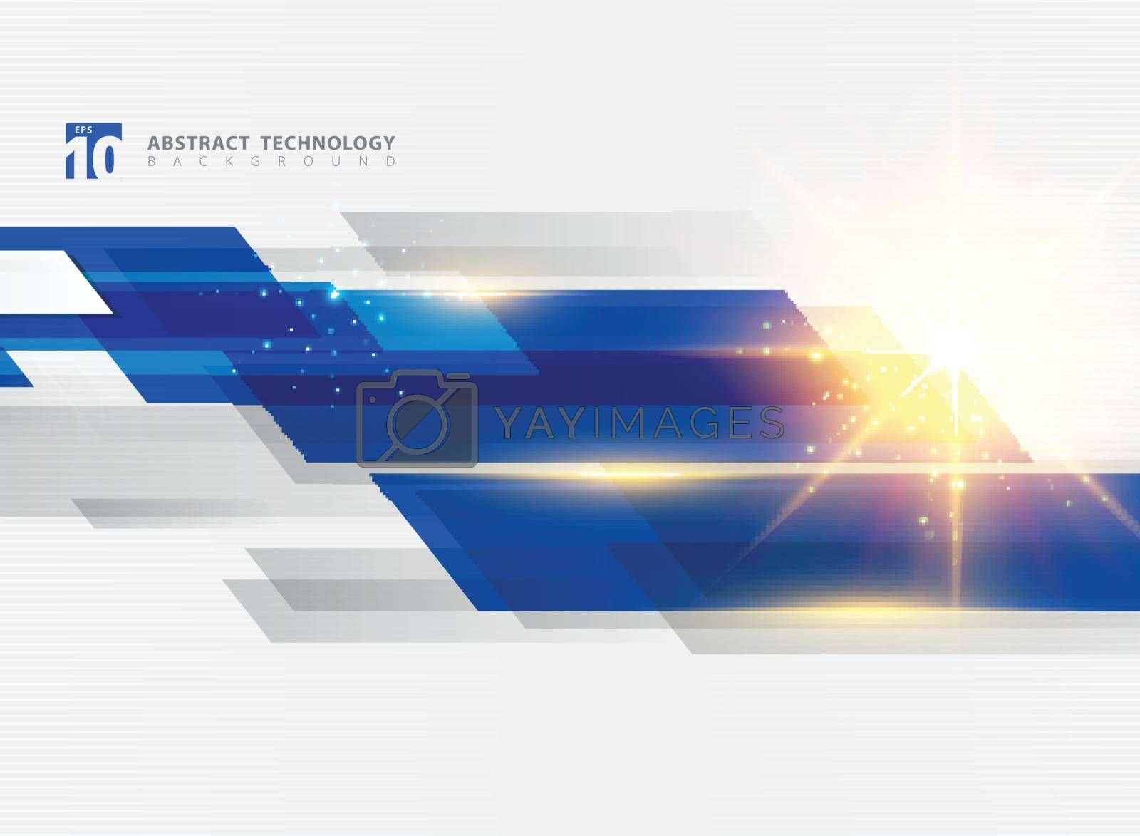 Abstract technology geometric blue color shiny motion background with lighting effect. Template with header and footer for brochure, print, ad, magazine, poster, website, magazine, leaflet, annual report. Vector corporate design