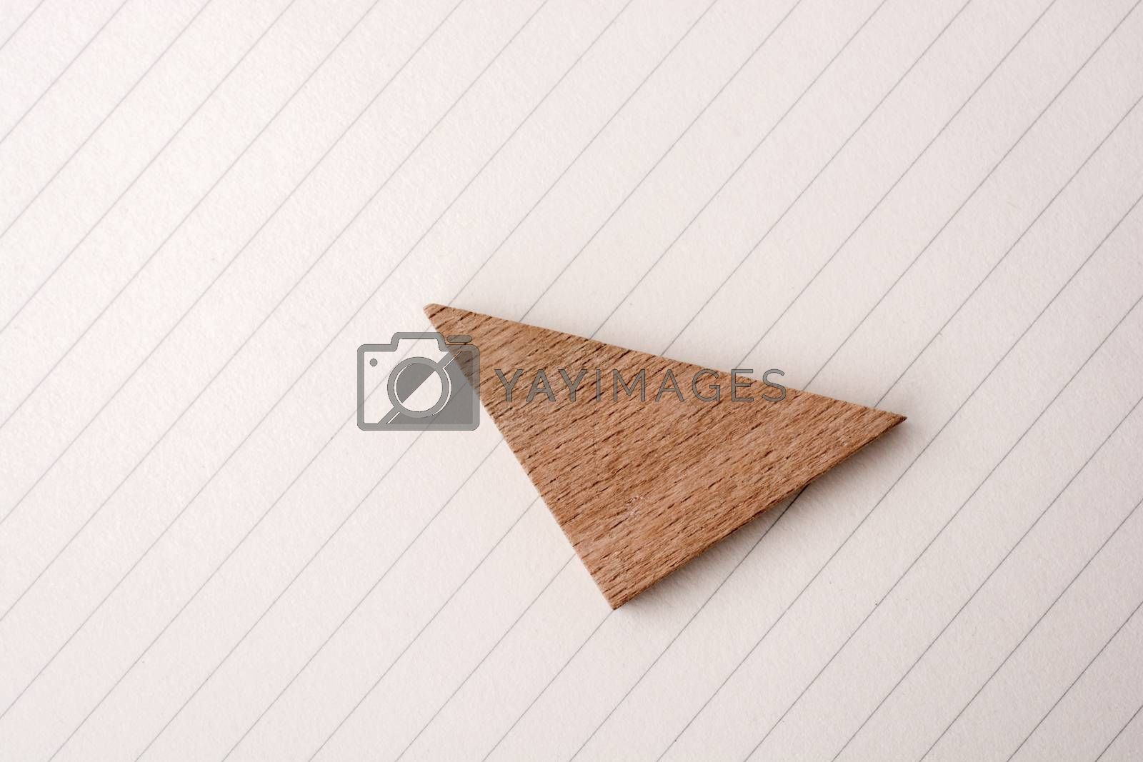 Piece of wood in the shpae of a triangle on paper