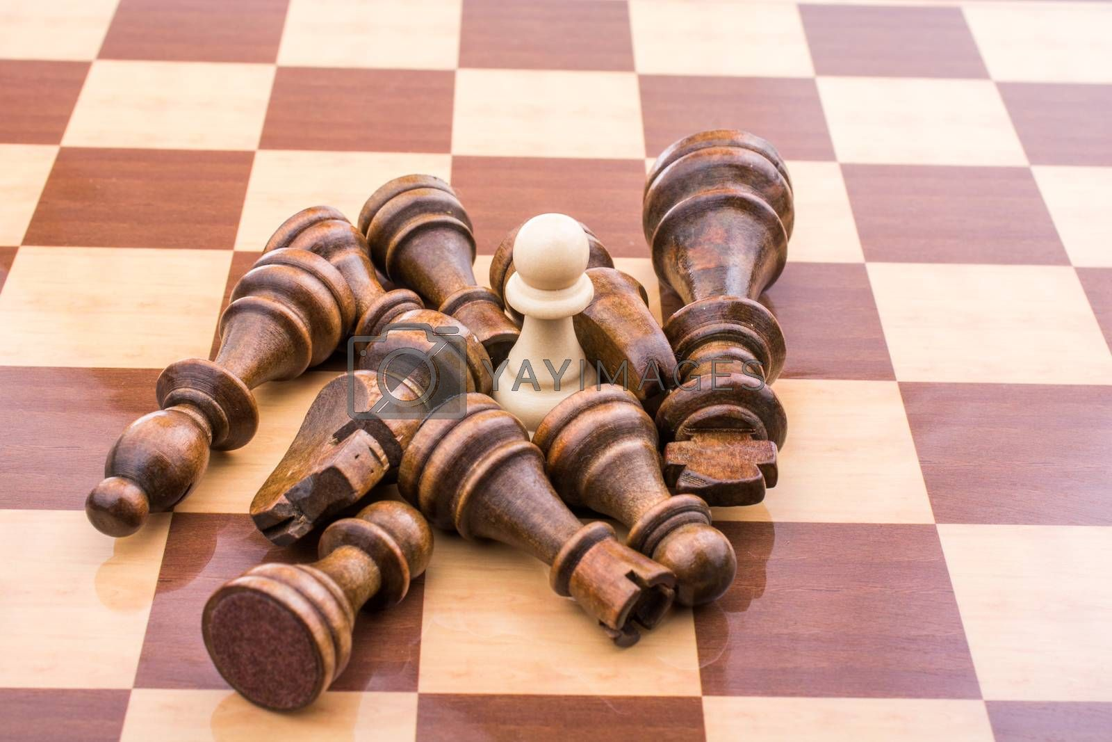 Chess board with chess pieces  on it