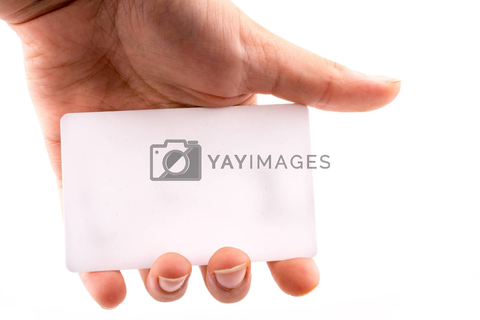 Hand holding a note paper on a white background