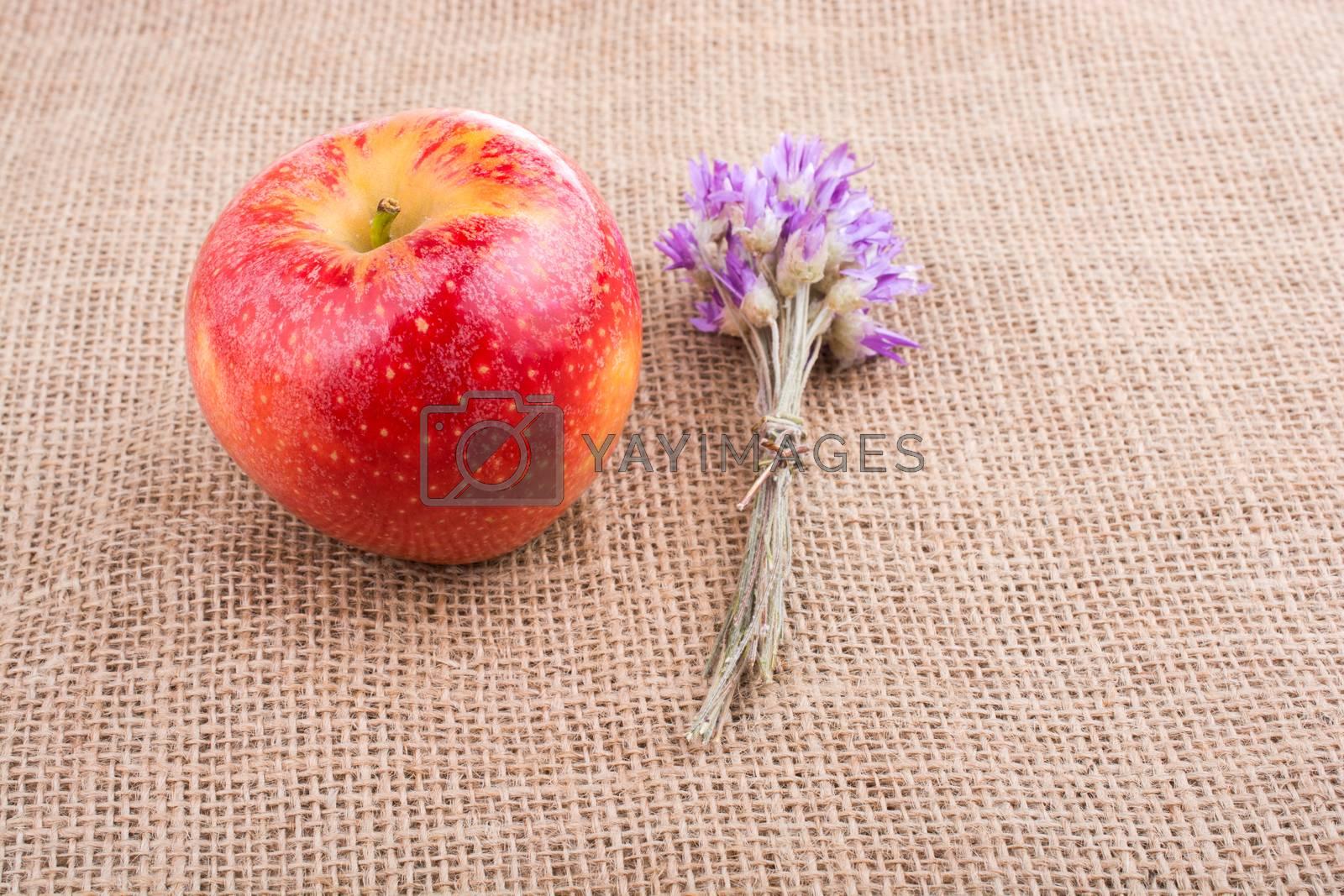 Tiny  flower bouquet beside  an apple on canvas
