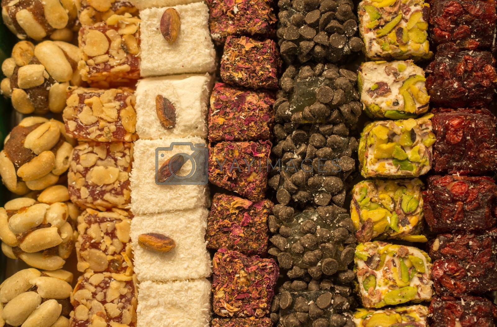 Load of traditional turkish delight lokum candy
