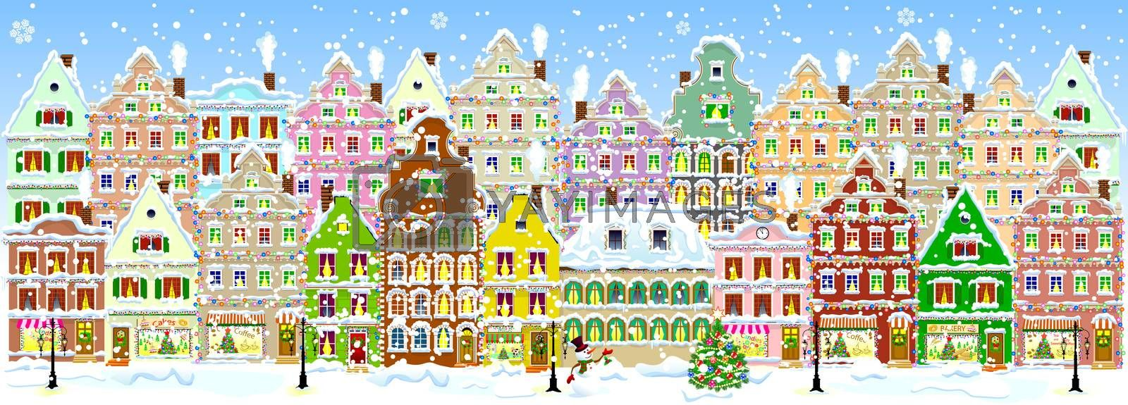 City in winter, banner by liolle