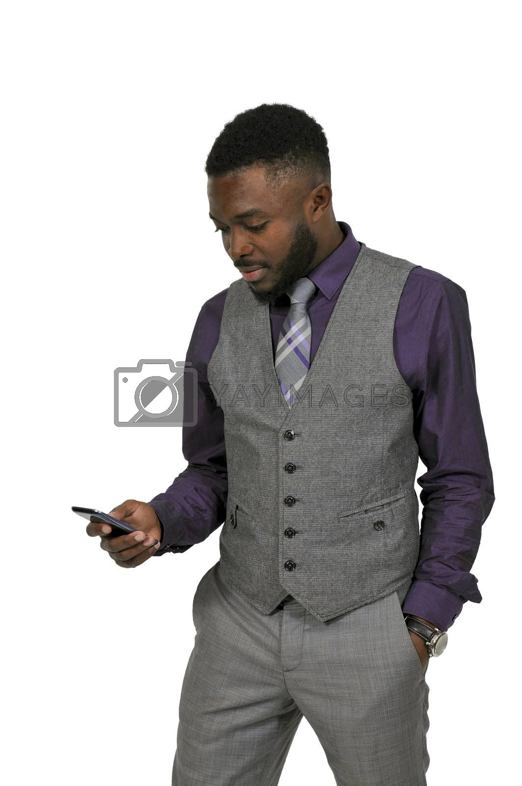Young African American black man talking on a cell phone