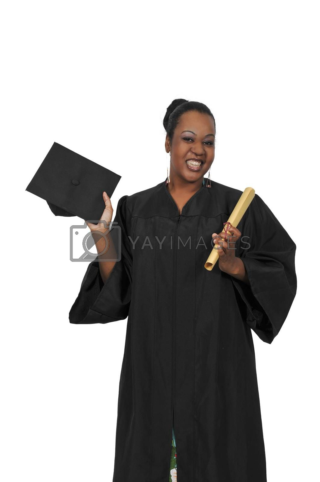 Black African American woman in her graduation robes