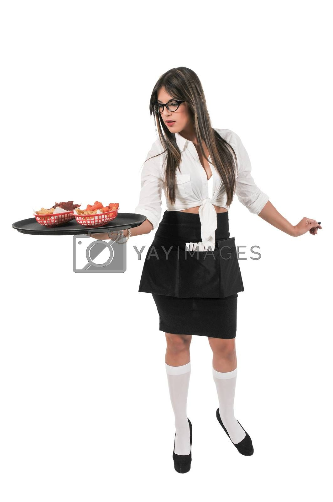 Woman food service worker server or waitress