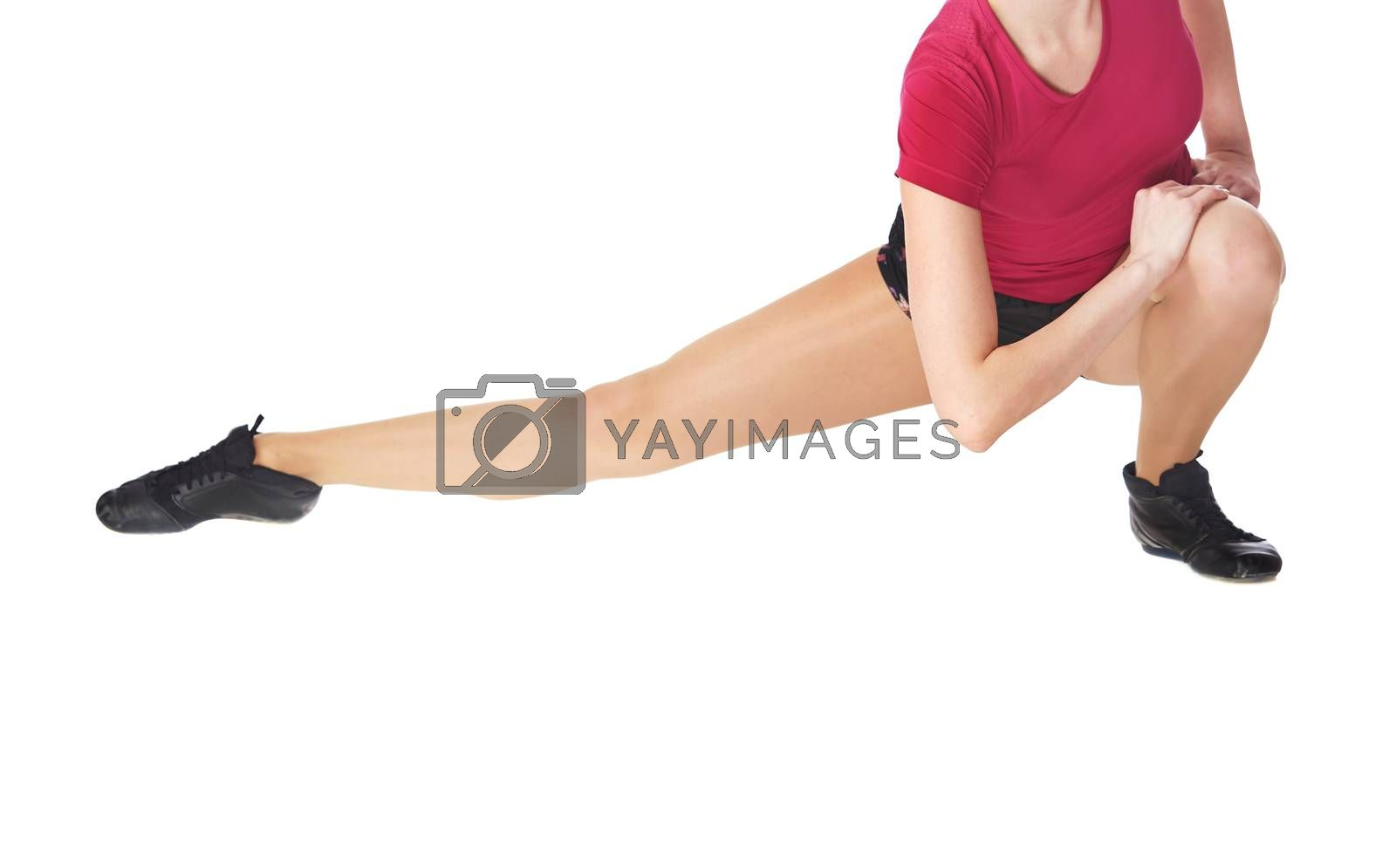 Woman doing fitness stretching execrise on a white background