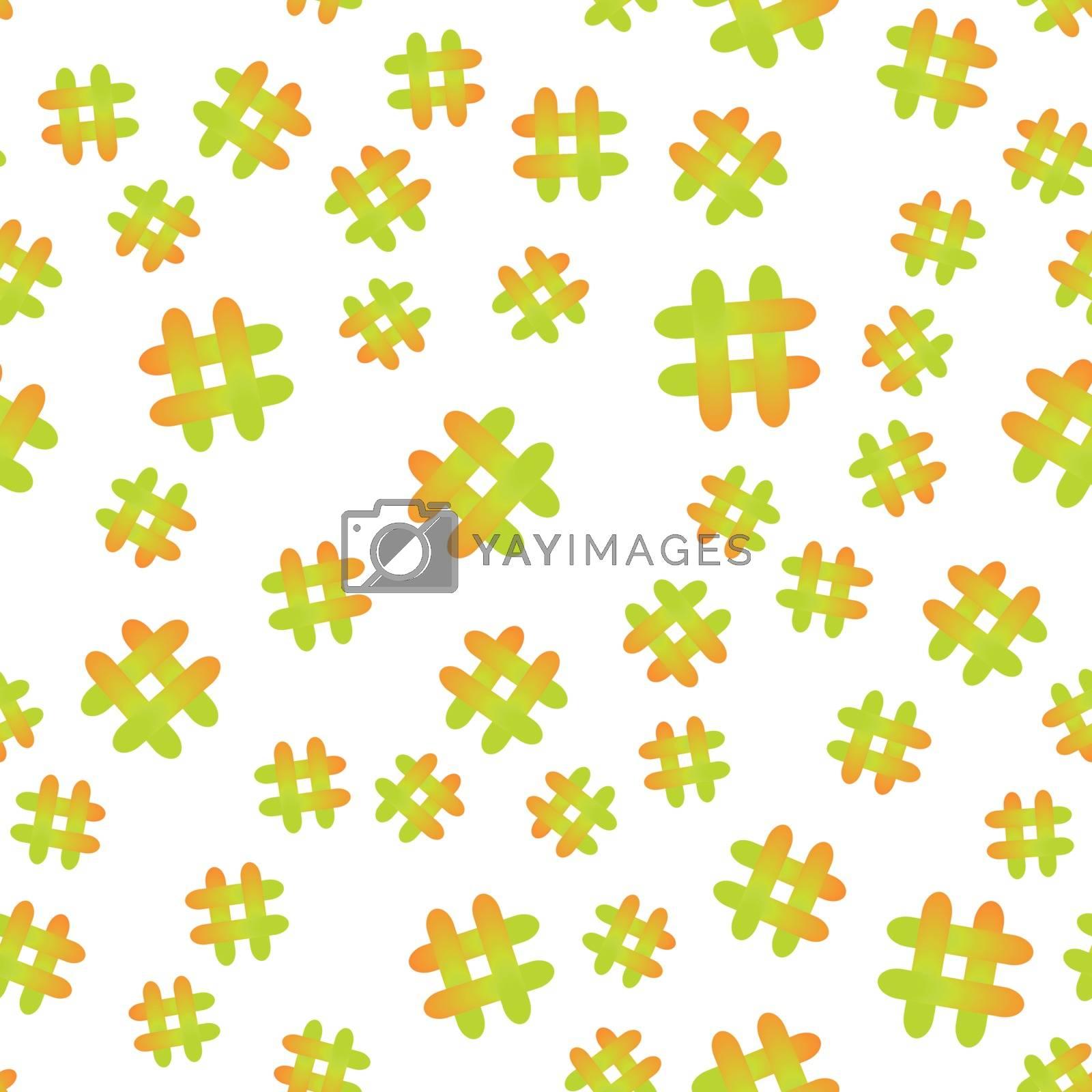 Vector illustration. Hashtag icon seamless pattern. Hashtag random seamless pattern