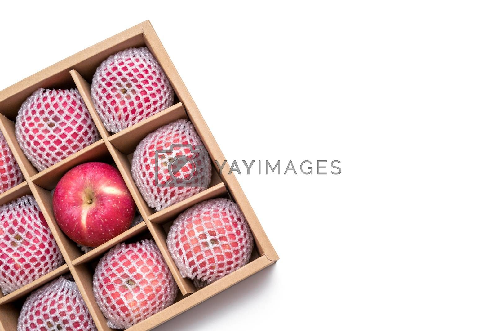 red apples with shockproof foam net wrap in paper box on white background