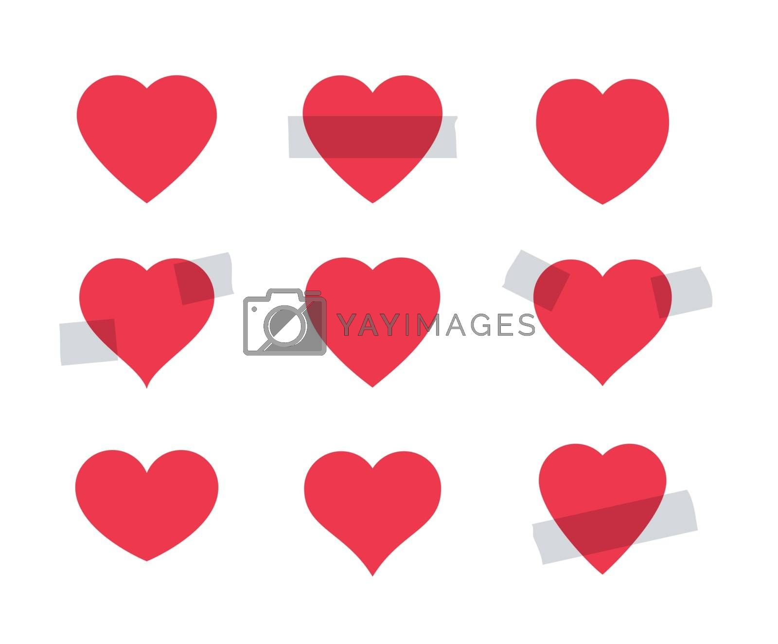 Set of red heart shape. Some hearts as stickers attached with a scotch tape. Valentine day symbol