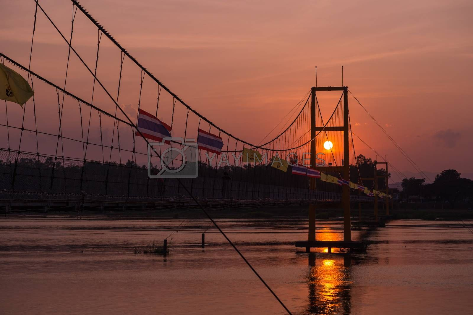 Taksin history bridge and sunset business travel of Thailand