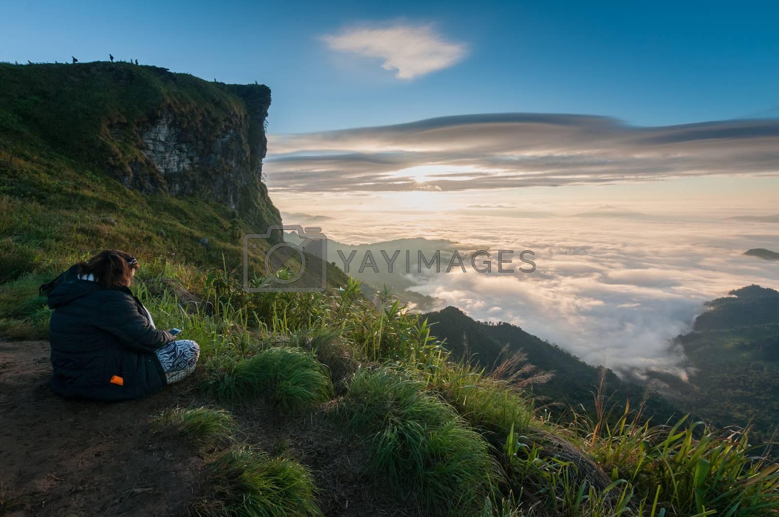 Phu Chi Fa mountain landscape with sunrise, Thailand