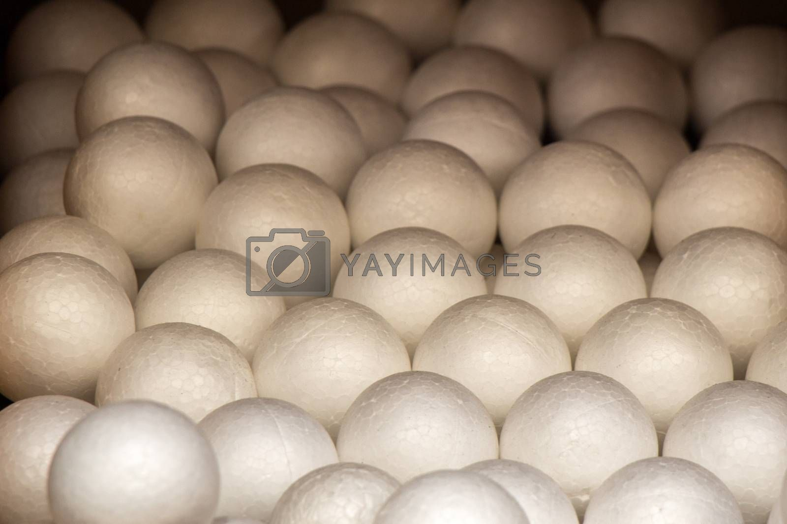 Dozens of styrofoam balls in the view