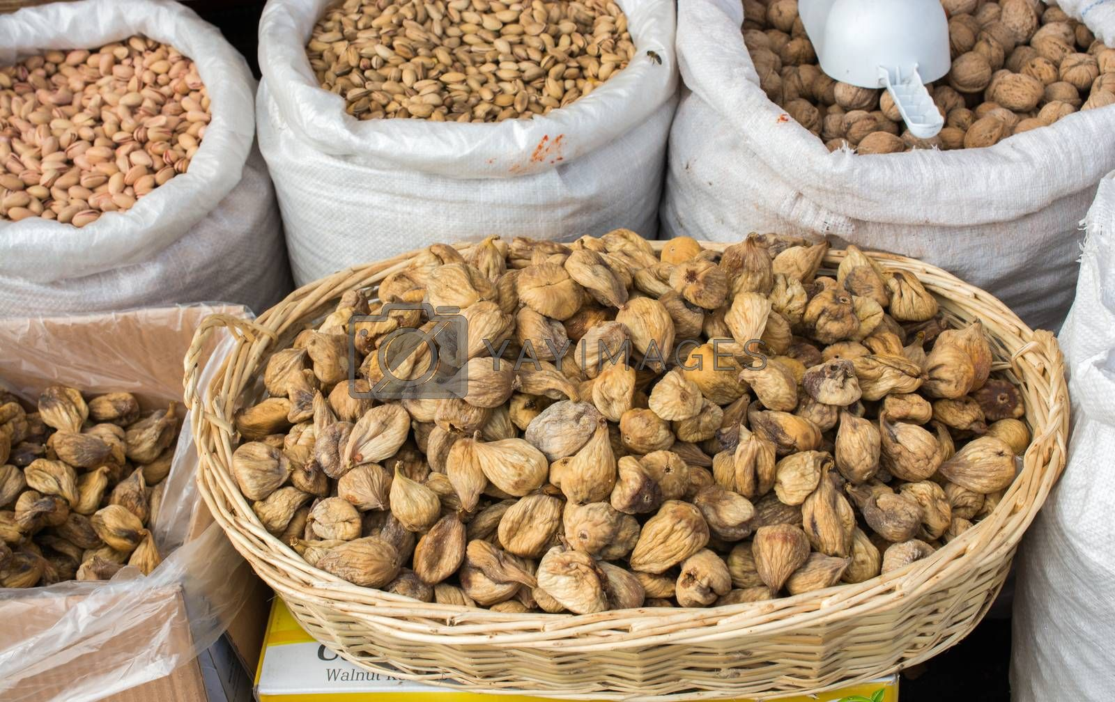 Dry fig fruit in the market in view
