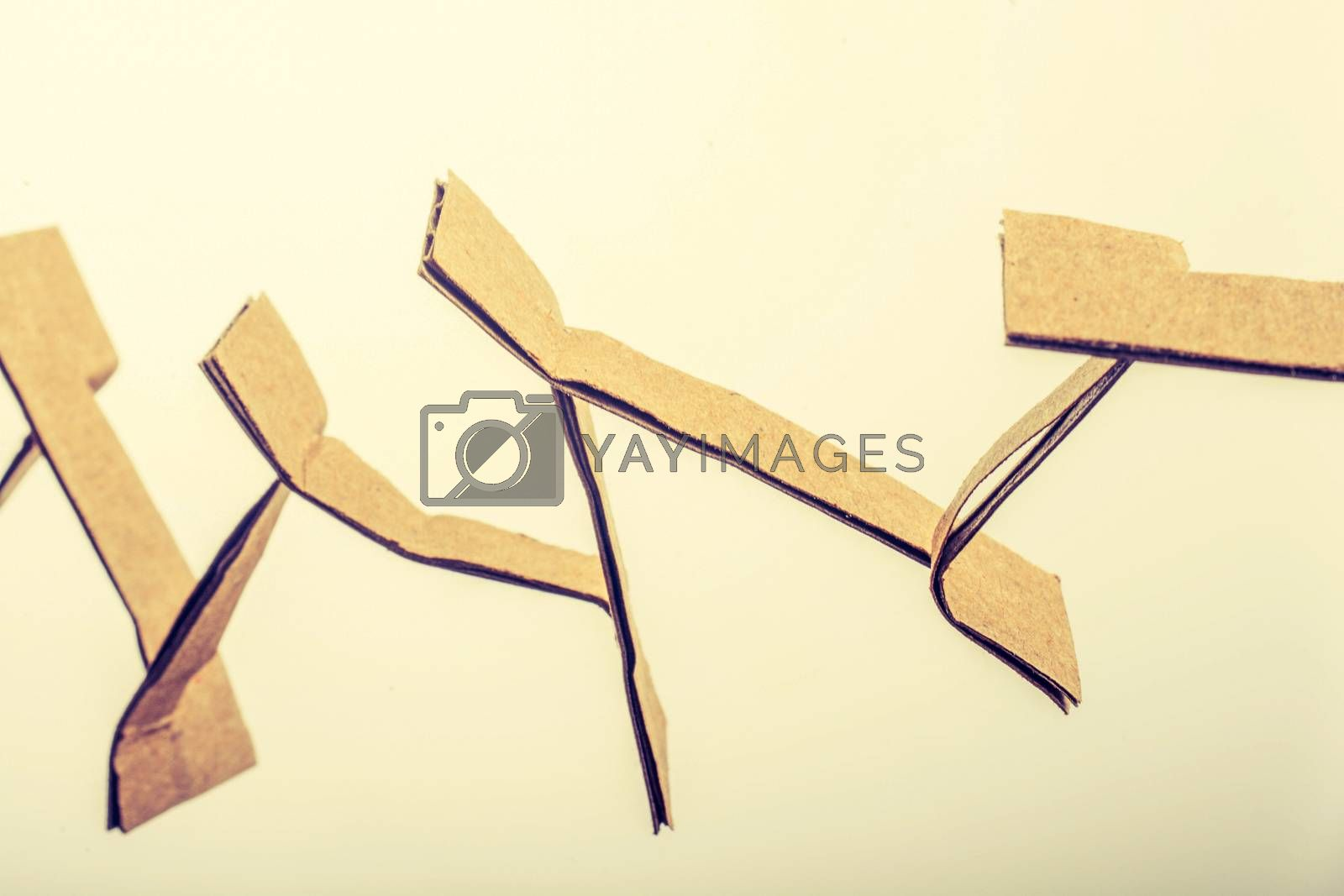 Corrugated cardboard cut into craft work in the view
