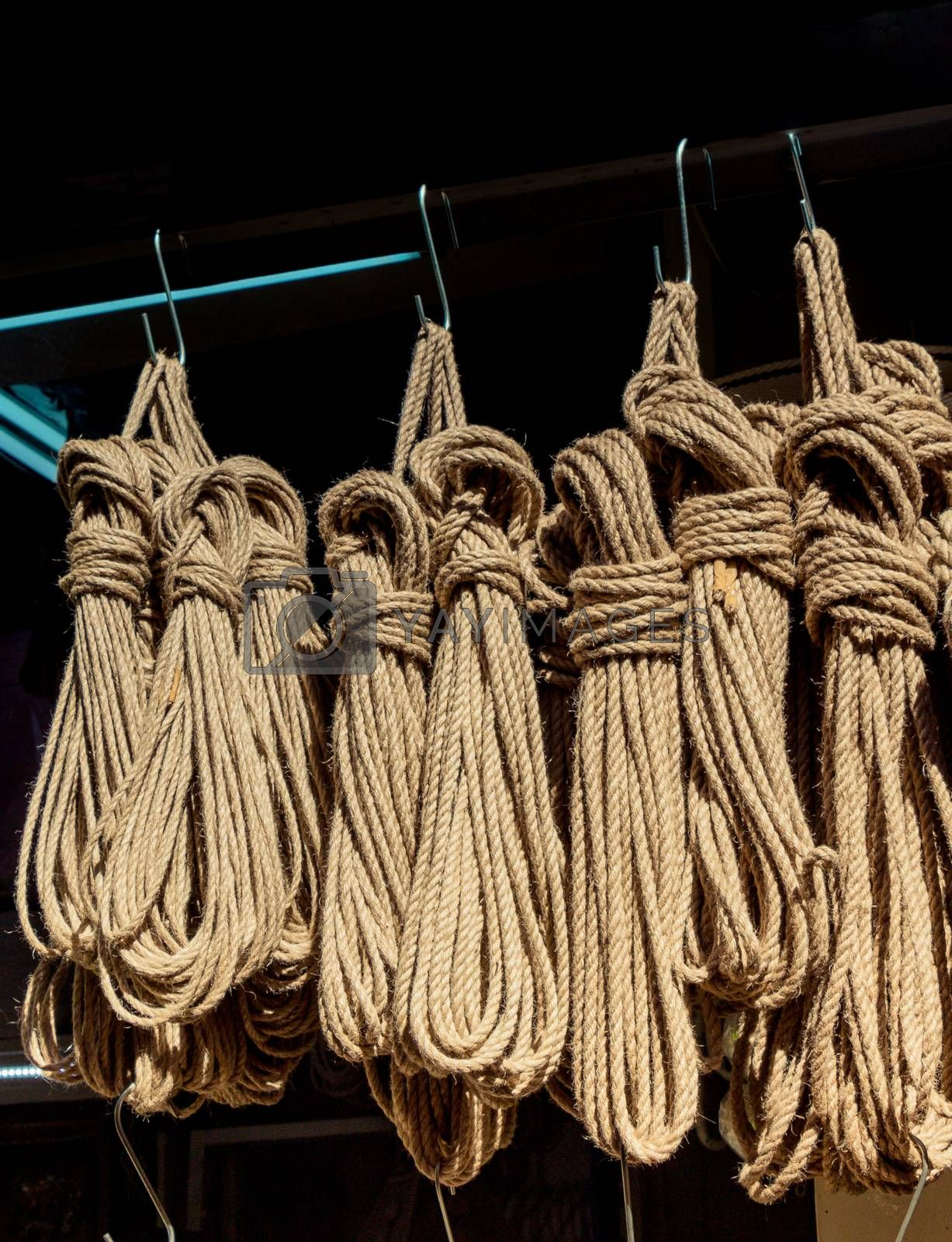 Bundle of linen rope  in a market place